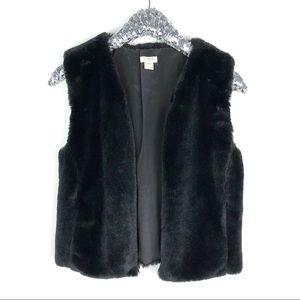 The Limited Black Faux Fur Vest SZ XXS